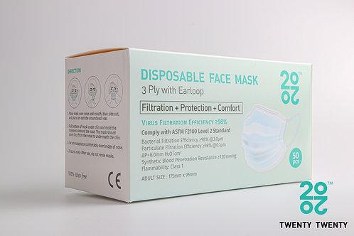 TWENTY TWENTY  Disposable Face Mask-ASTM LV2 (no logo)