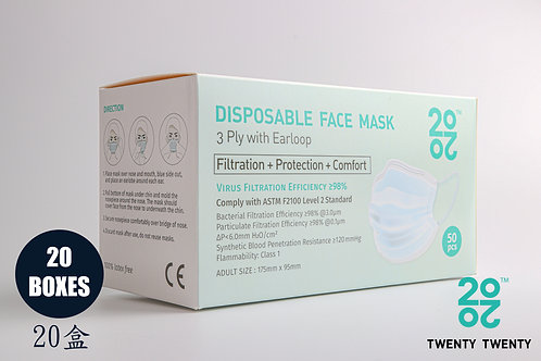 TWENTY TWENTY Disposable Face Mask-ASTM LV2-20 boxes (no logo)* Exclusive