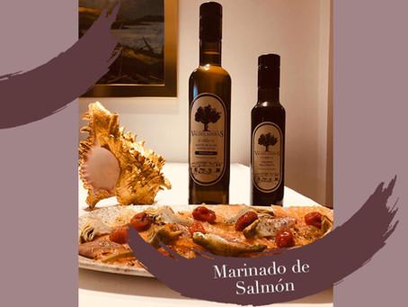 Marinado de Salmón con aceite de oliva virgen extra Valdelaseras