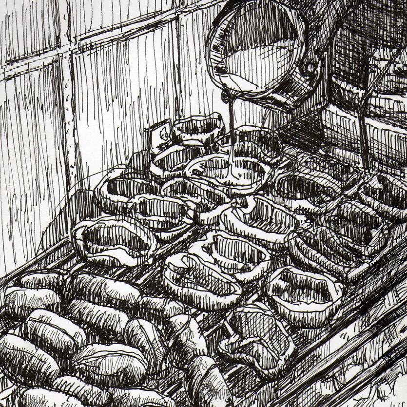 Choris y pimientos asados