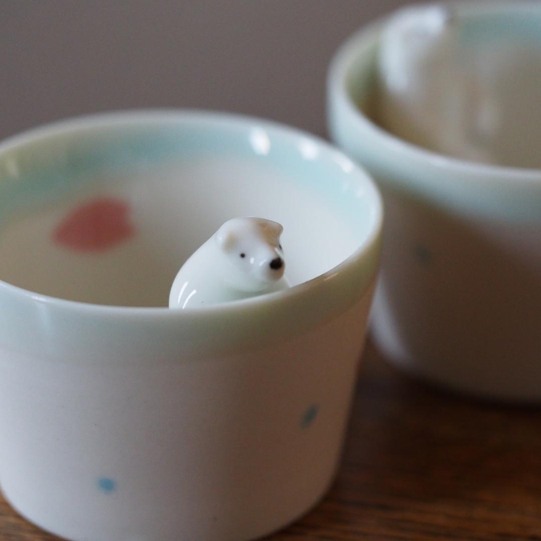 酒器 / 桜模様付きシロクマのお猪口