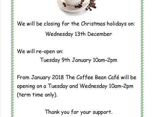 Coffee Bean Café - Christmas Closing Dates