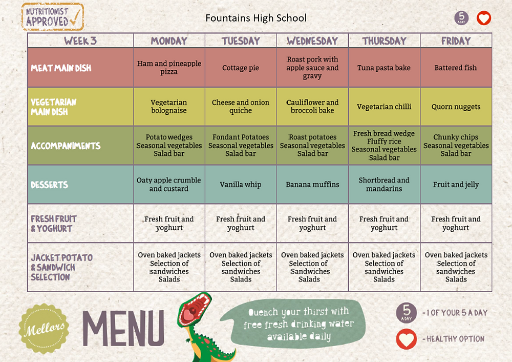 Fountains High School Menu - Week 3