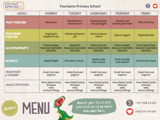 School Meals Week 1 - 11/02/2019