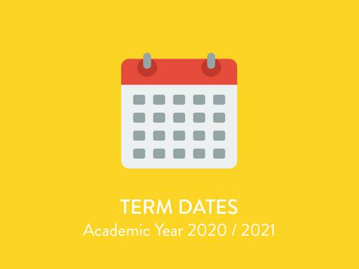 Term Dates 2020/2021