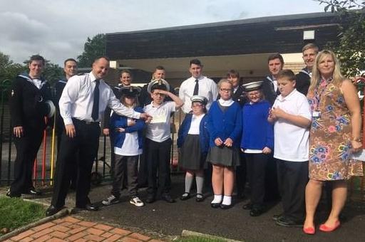 HMS Victorious donate £1,250 for primary trips!