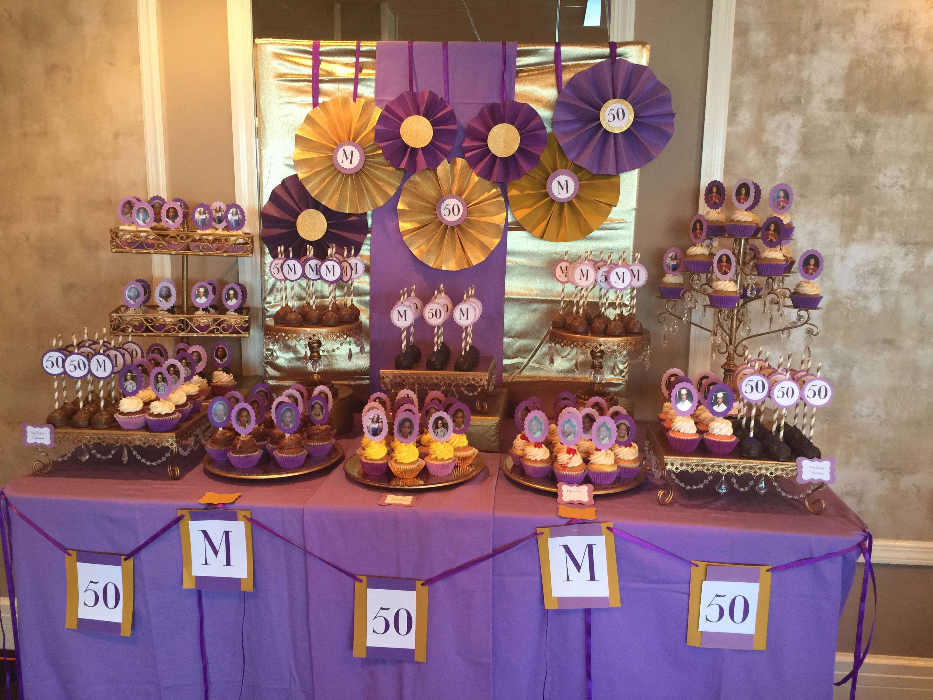 Purple And Gold Dessert Table