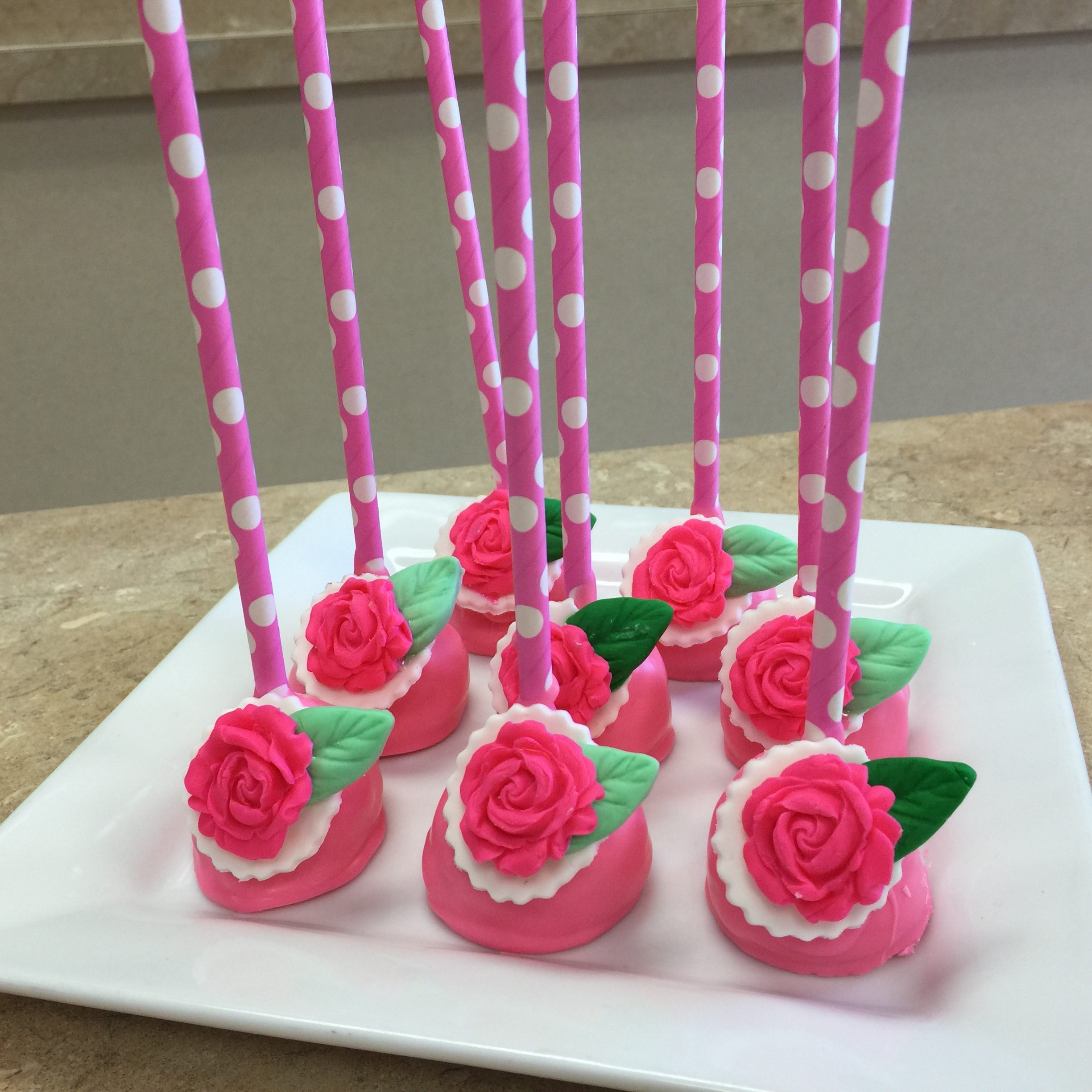 Pink Flowers Cake Pops