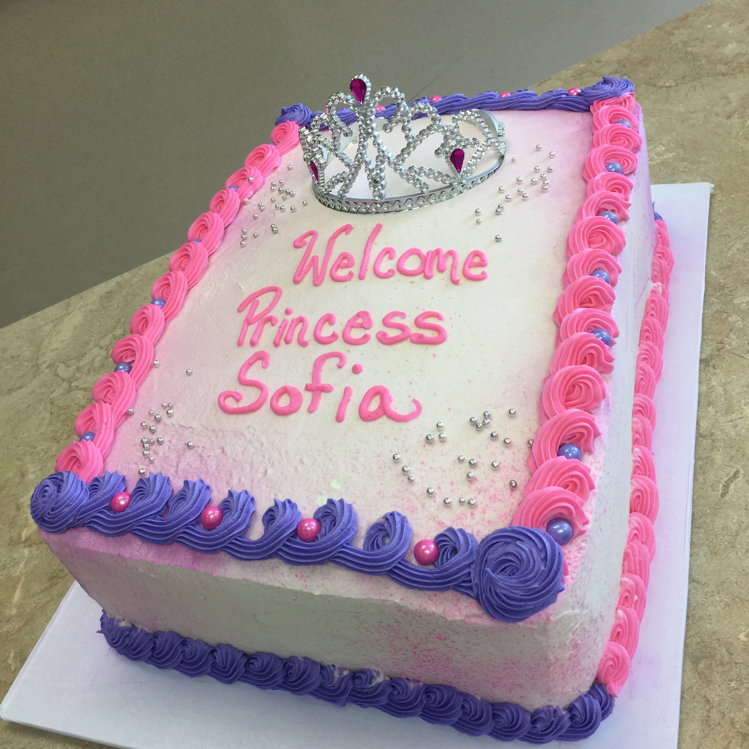 Baby's Girl Princess Shower Cake