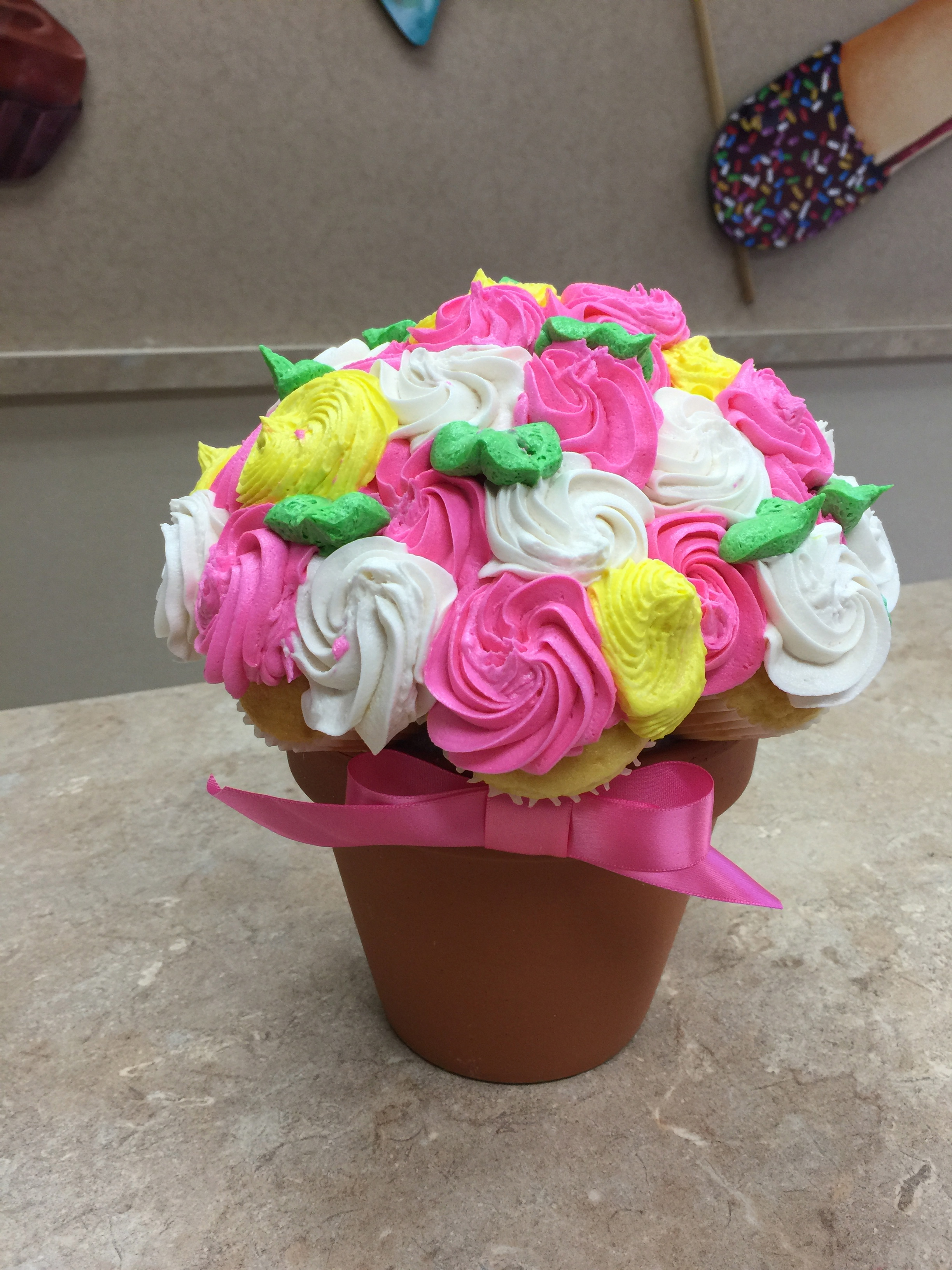 Pink Yellow & White Cupcake Bouquet