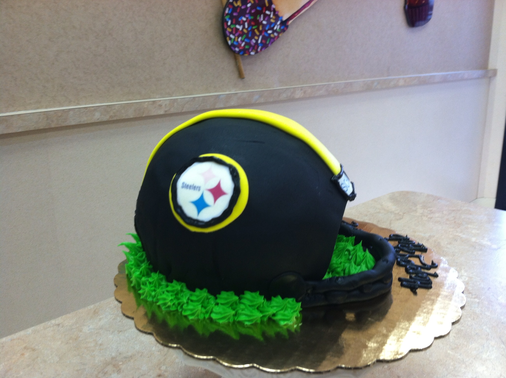 Steelers Football Helmet Cake