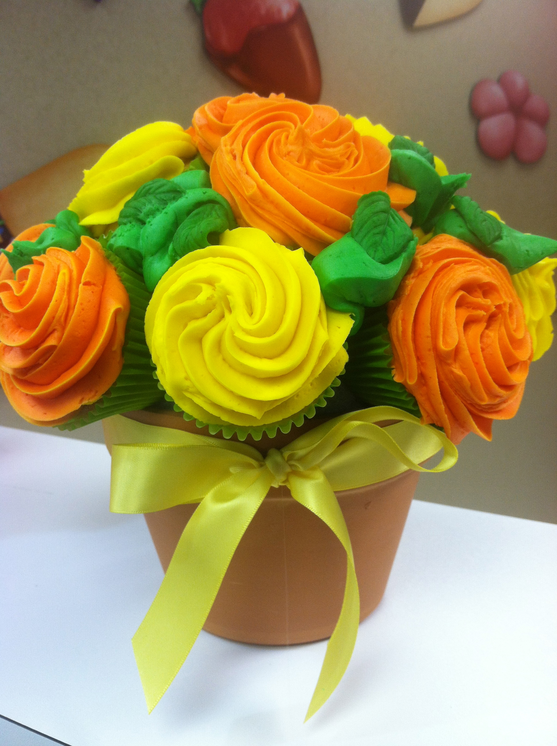 Yellow And Orange Cupcake Bouquet