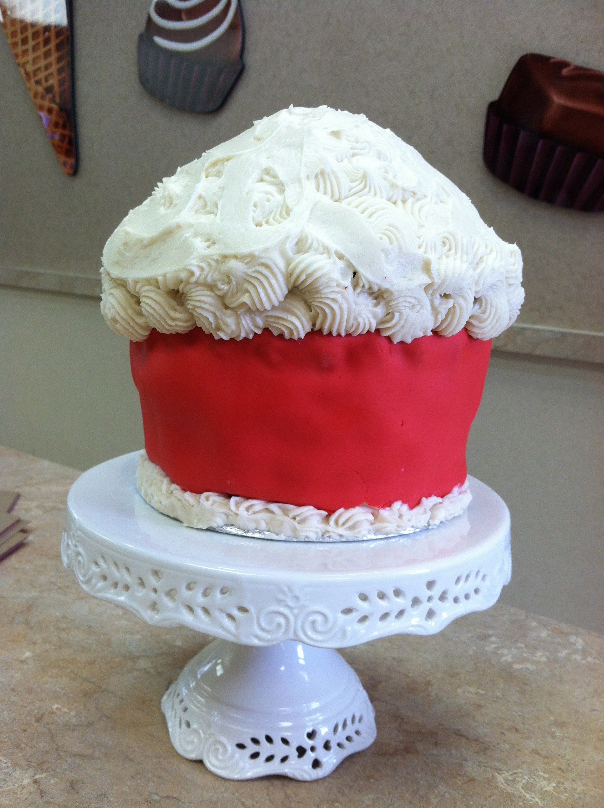 White And Red King Size Cupcake