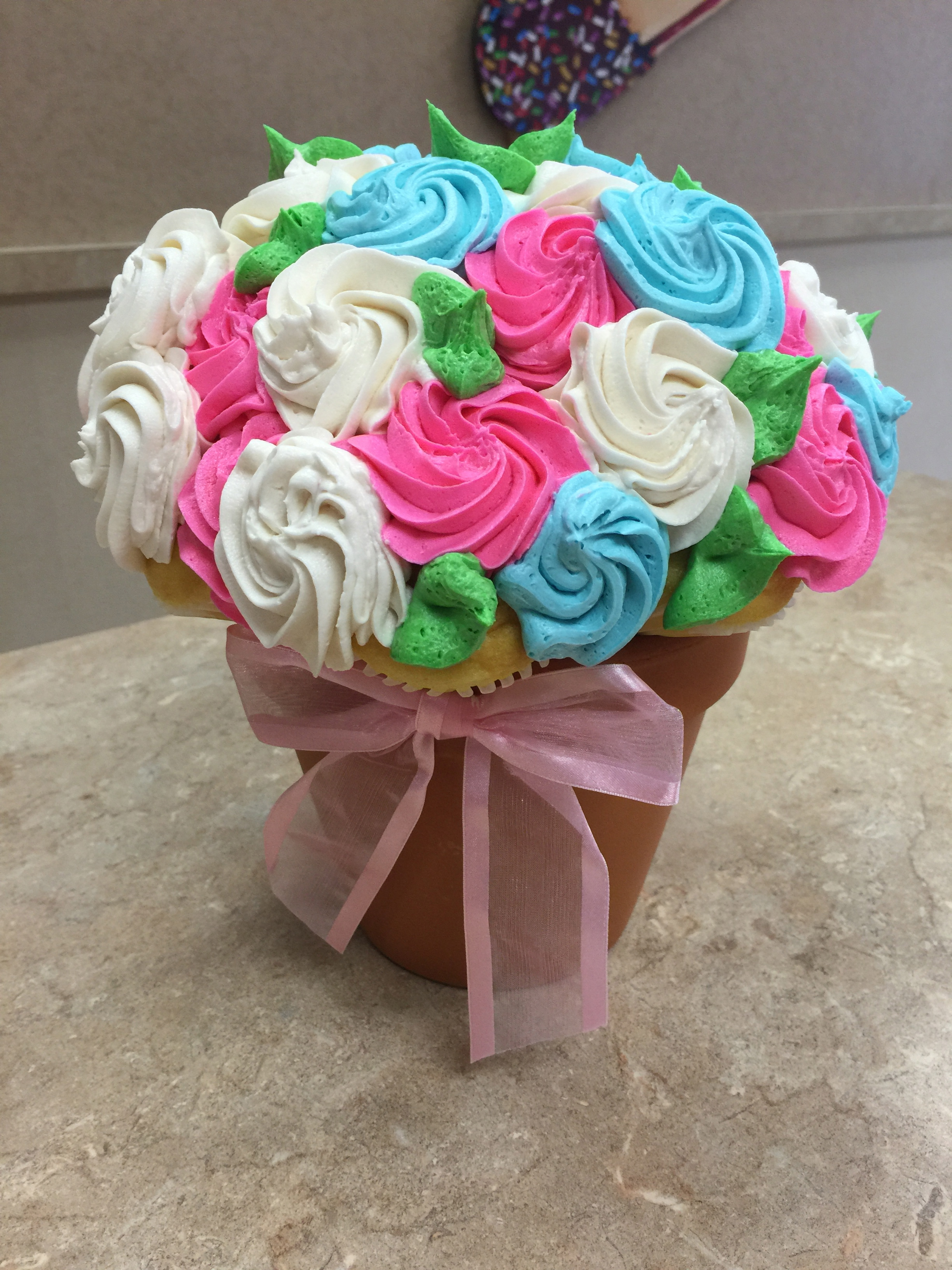 Pink Blue &White Cupcake Bouquet