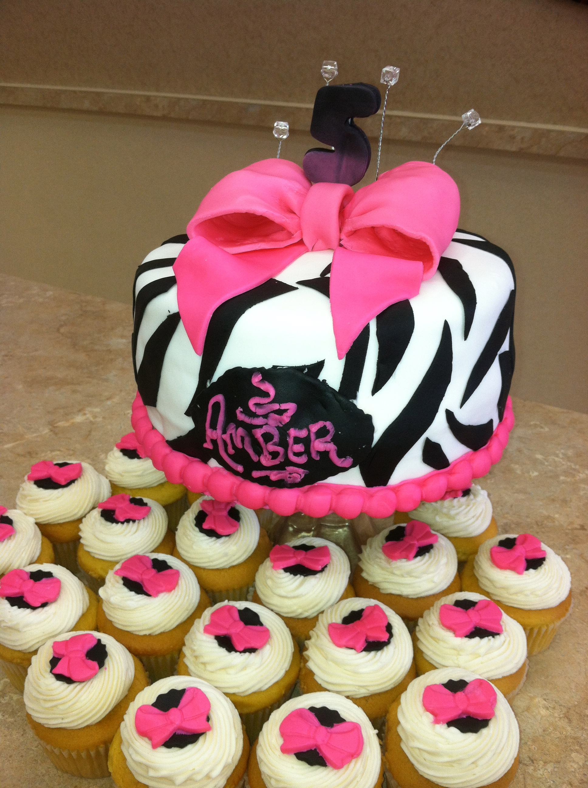 Zebra Print Cake With Bow