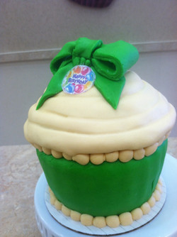 Green And White King Size Cupcake