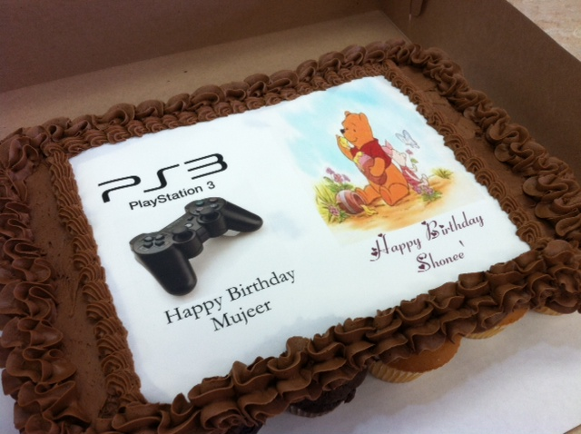 PS3 And Pooh Bear Cupcake Cake
