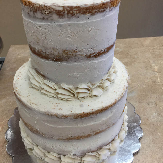 Nake Buttercream Wedding Cake