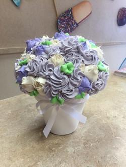 White & Lavender Cupcake Bouquet