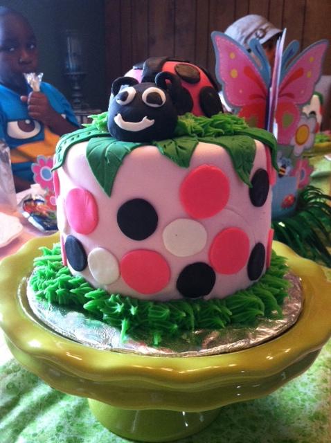 Pink Fondant Lady Bug Cake