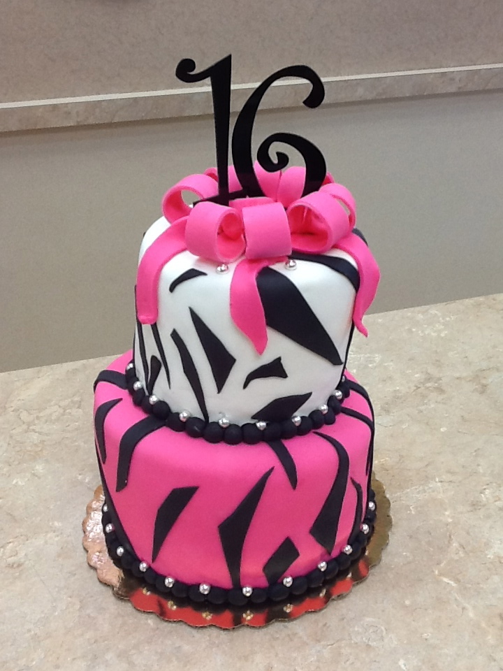 Pink and Black Zebra Sweet 16 Cake