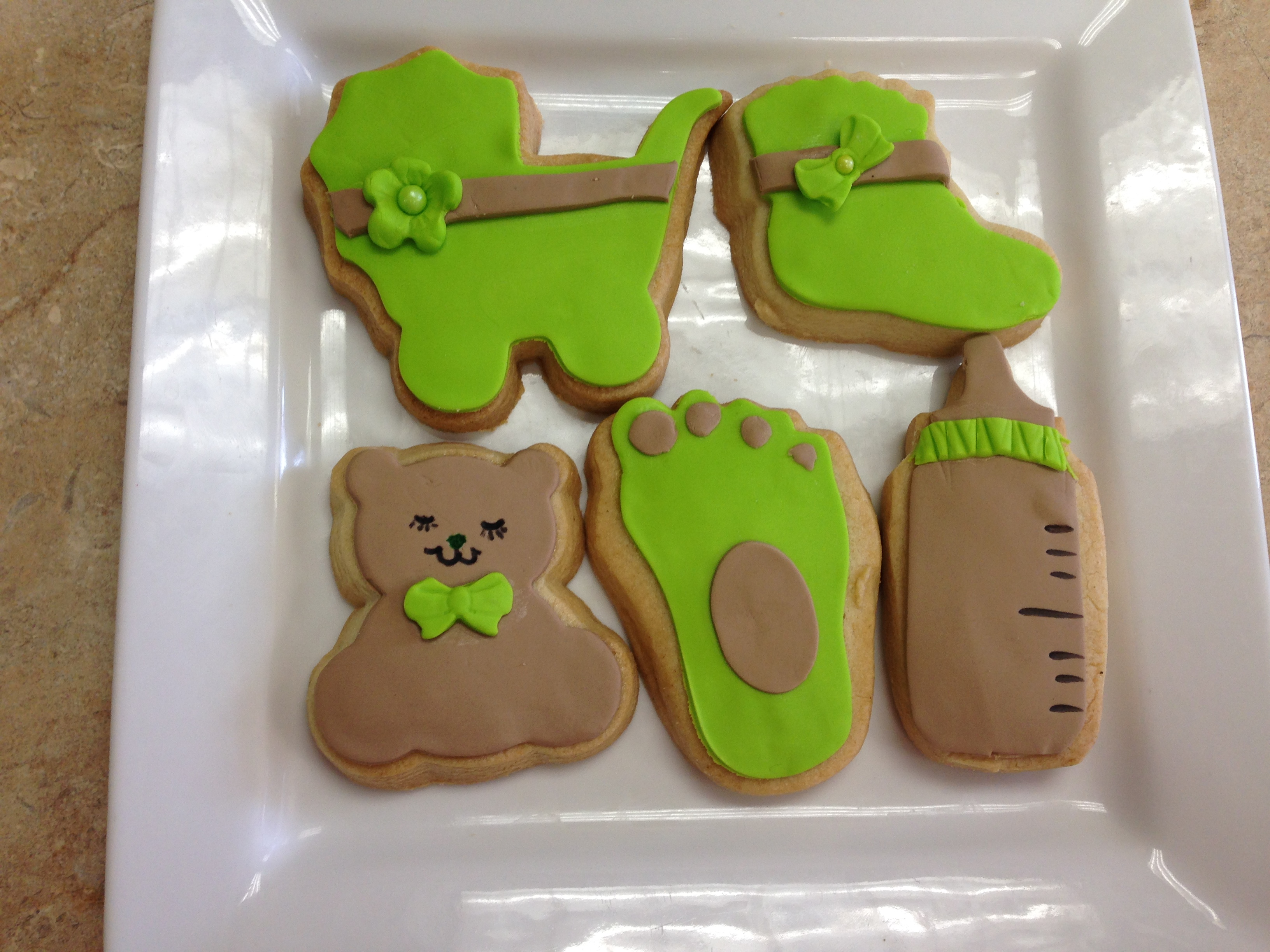 Green Baby Shower Cookies