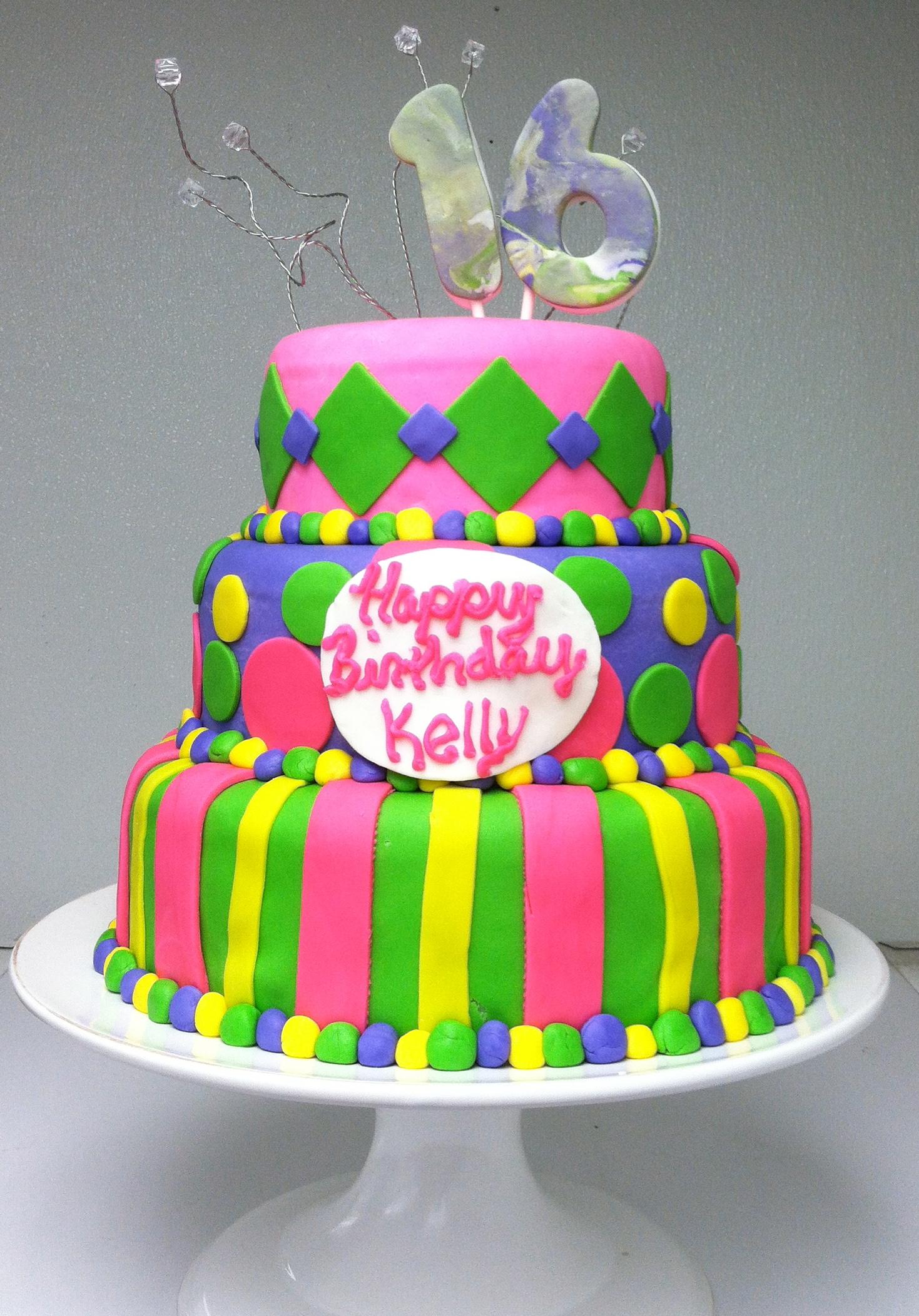 Fun Sweet 16 Fondant Cake