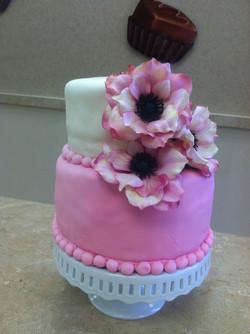 Pink Flower  Fondant Cake