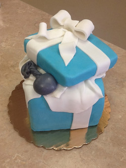 Baby Shower Tiffany Box with Rattle