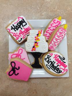 Pink Happy Birthday Cookies