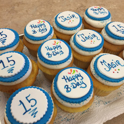 Blue and White Birthday  Cupcakes