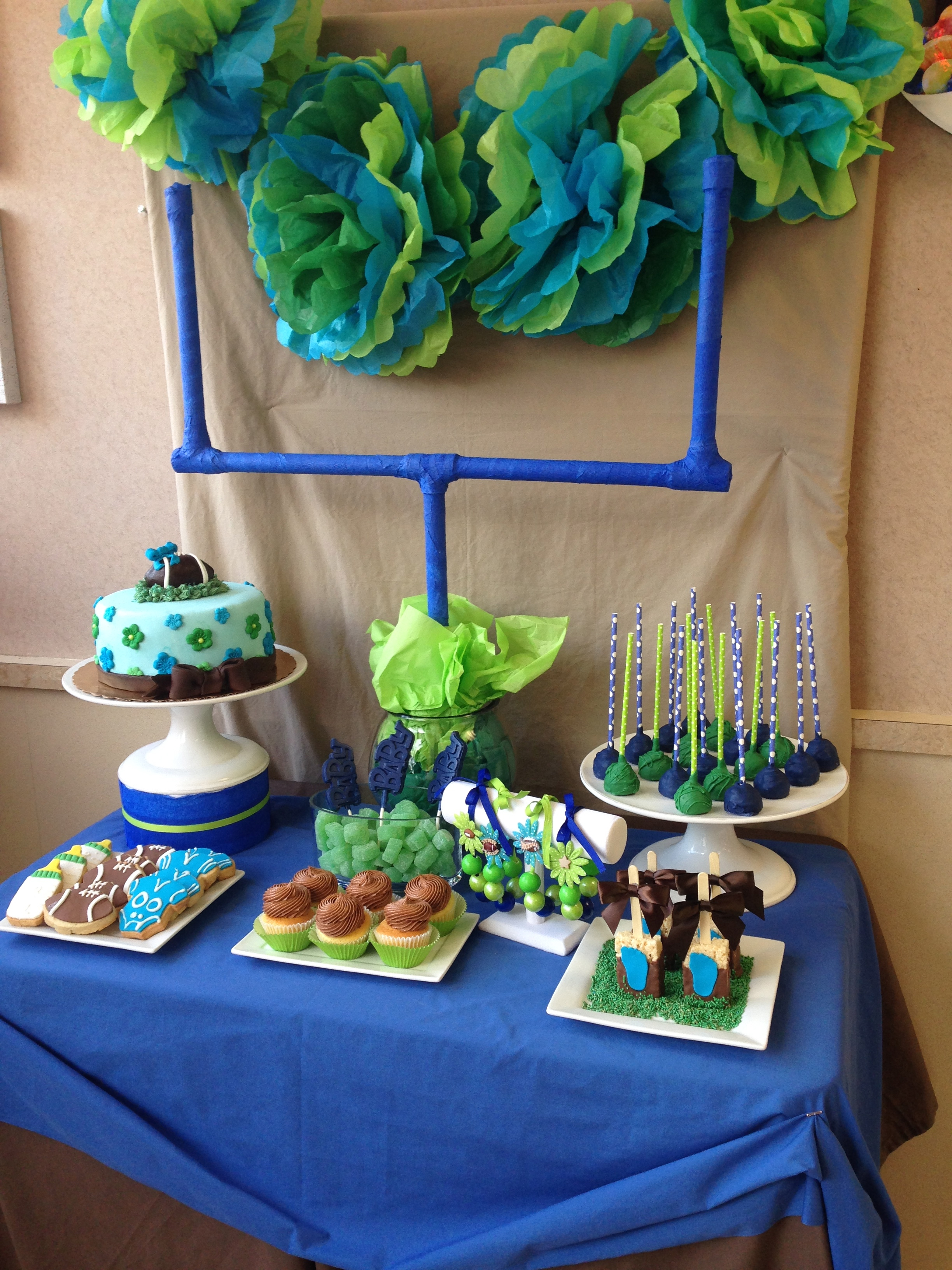 Football Baby Shower Cake Table