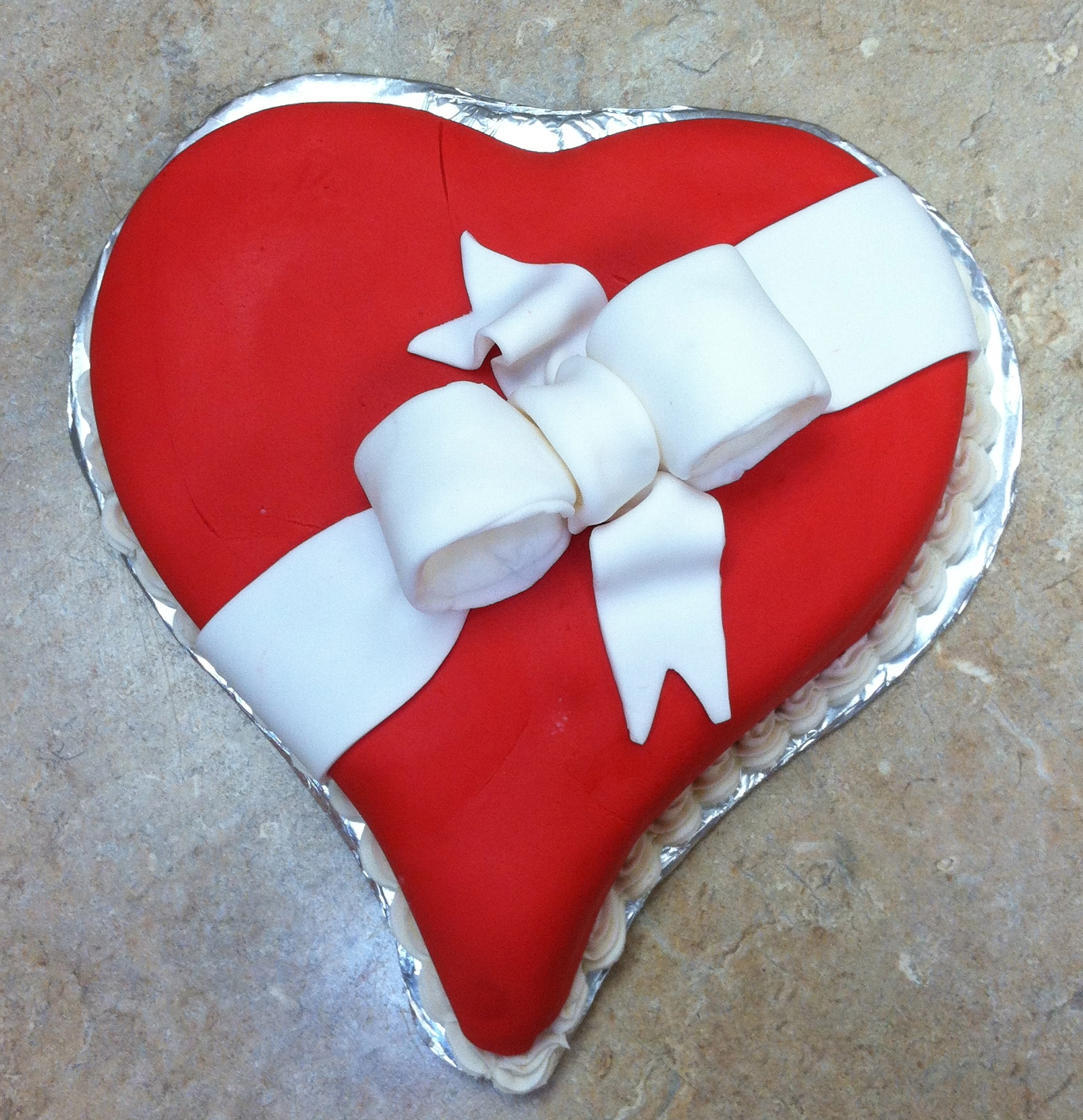 Heart Red and White Fondant Cake