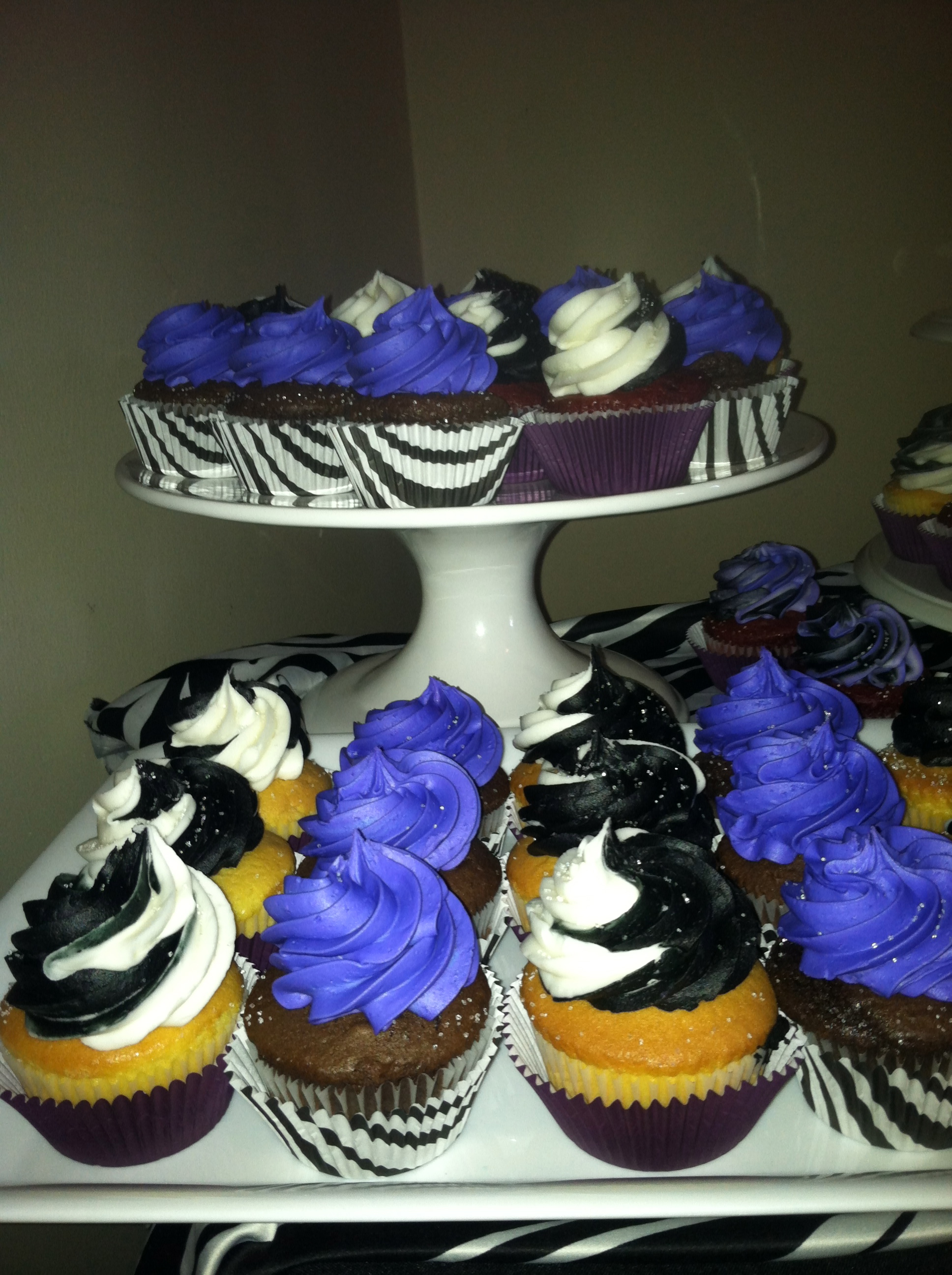 Black White And Purple Cupcakes