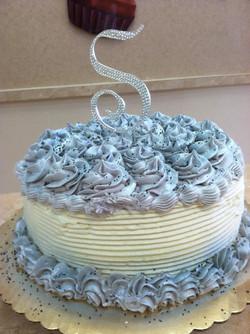 Sliver And White Buttercream Cake