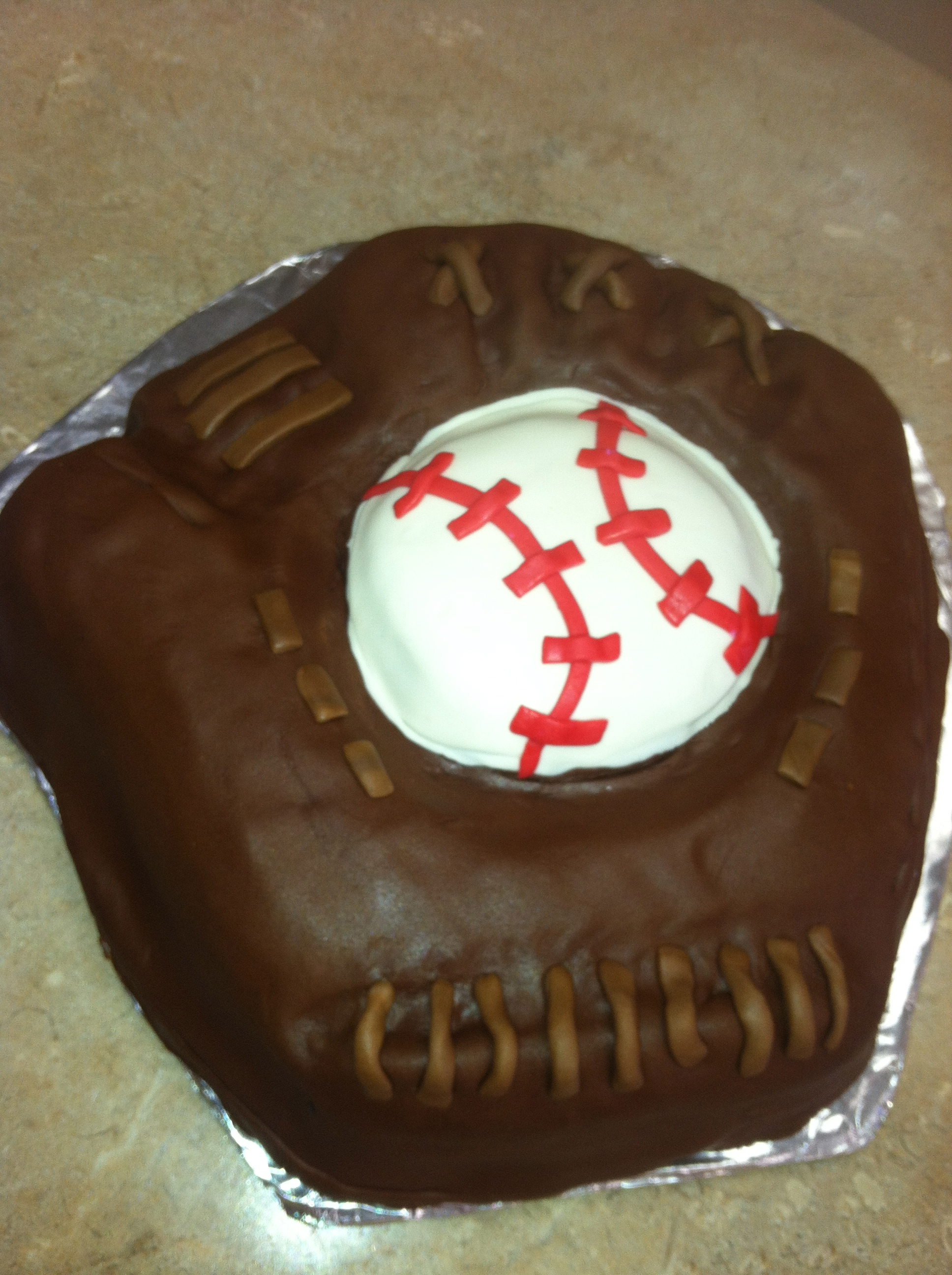 Baseball Glove and Ball Cake