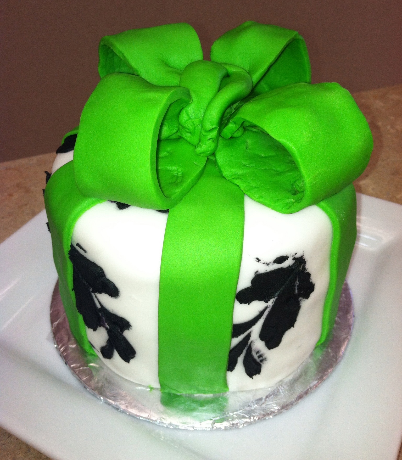 Green Black and White Cake
