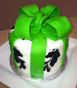 Green Black and White Cake