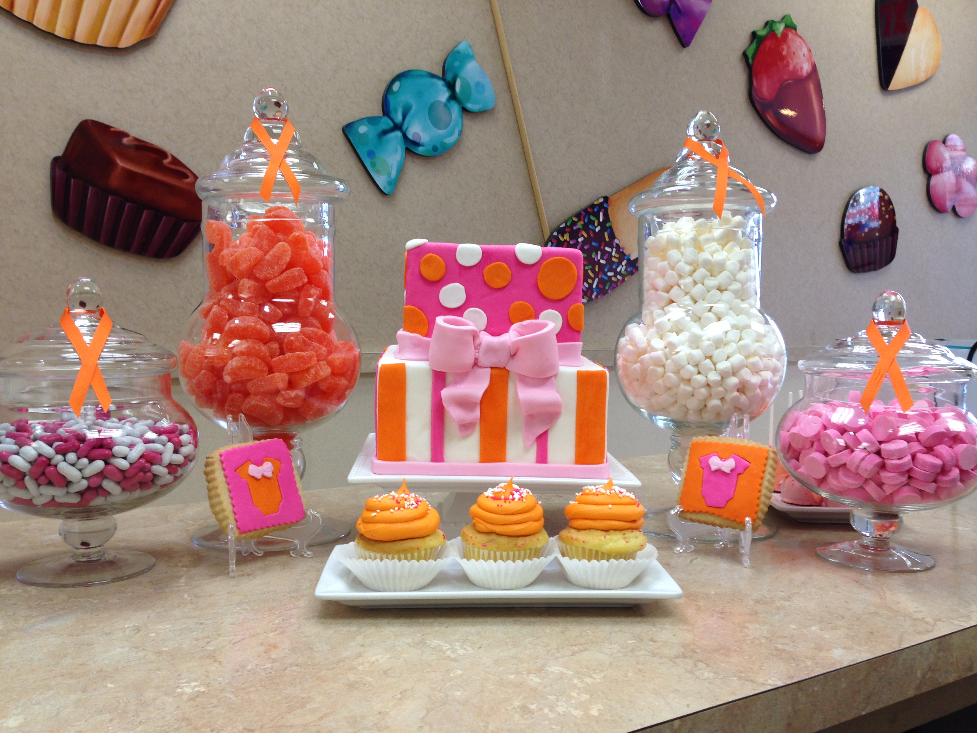 Pink and Orange Candy Buffet