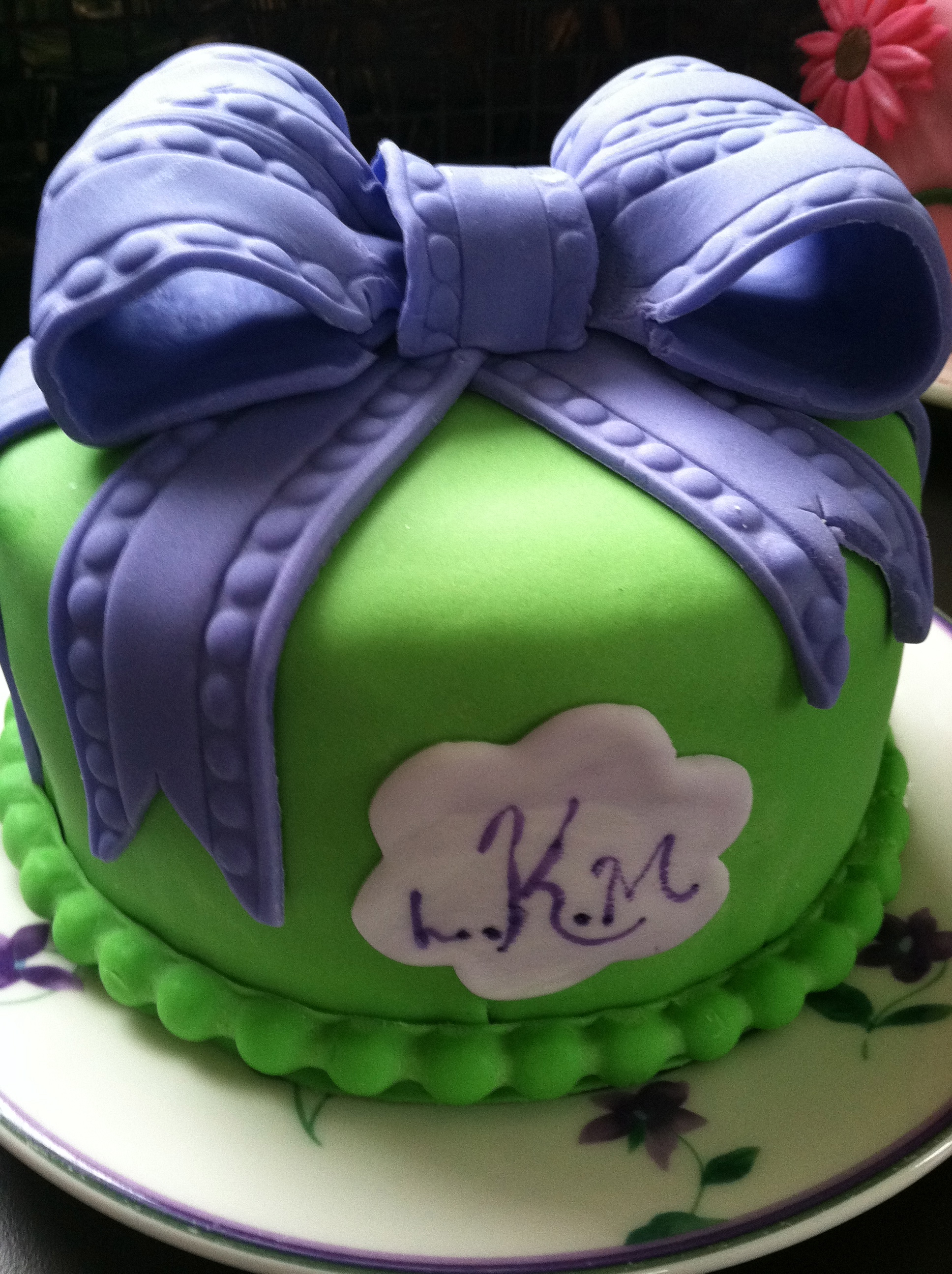 Green and Blue Fondant Cake
