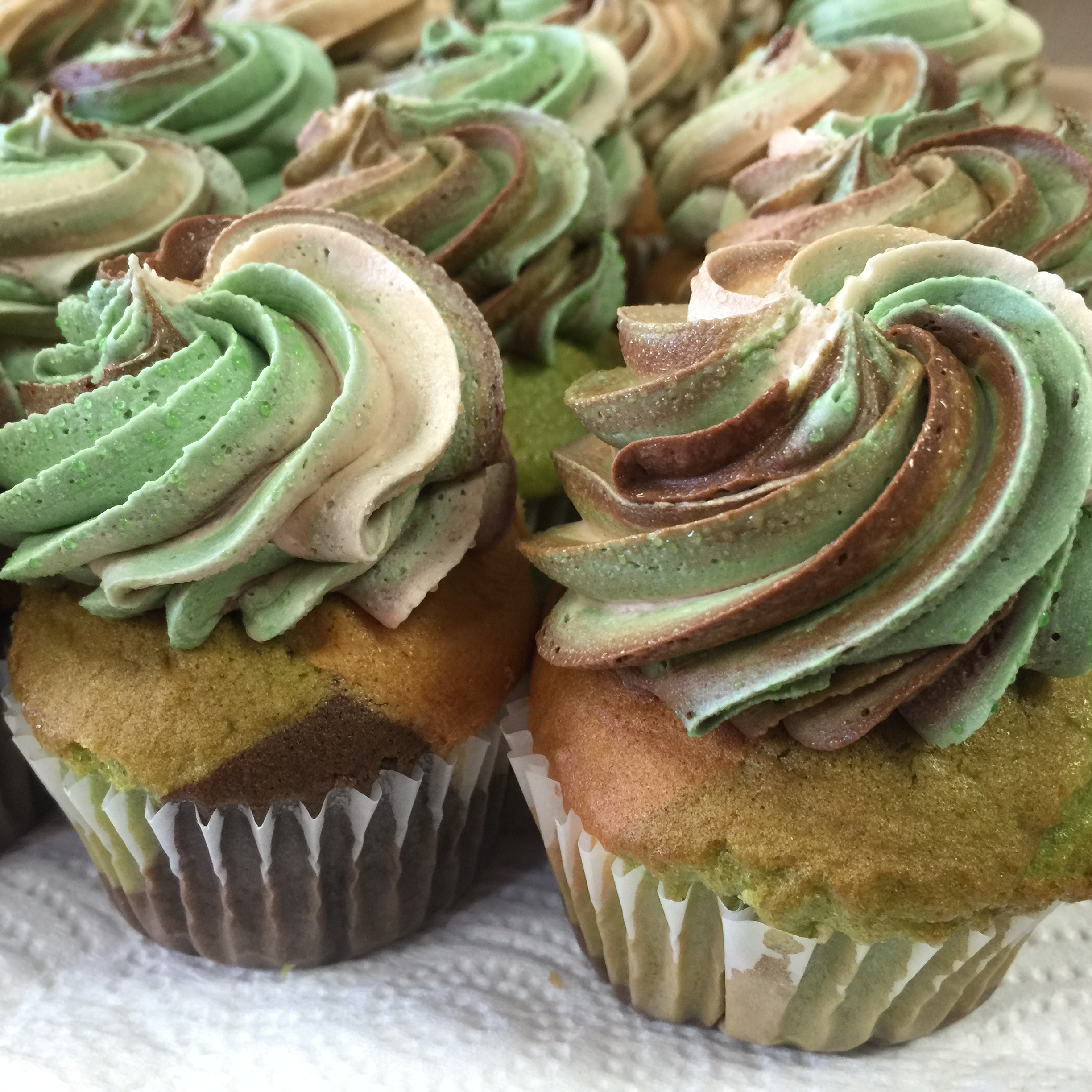 Green and Brown Cupcakes
