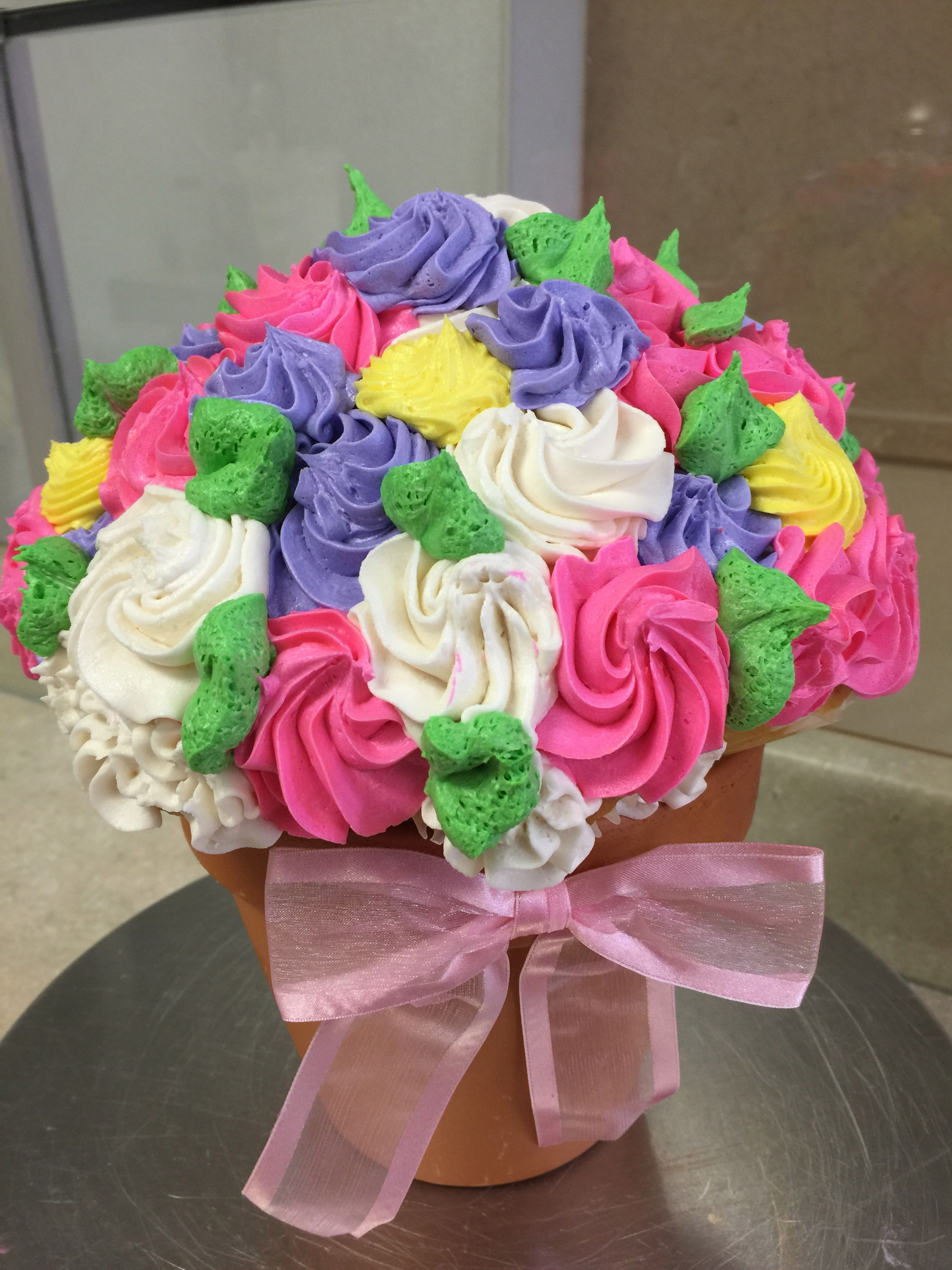 Pink White & Yellow Cupcake Bouquet