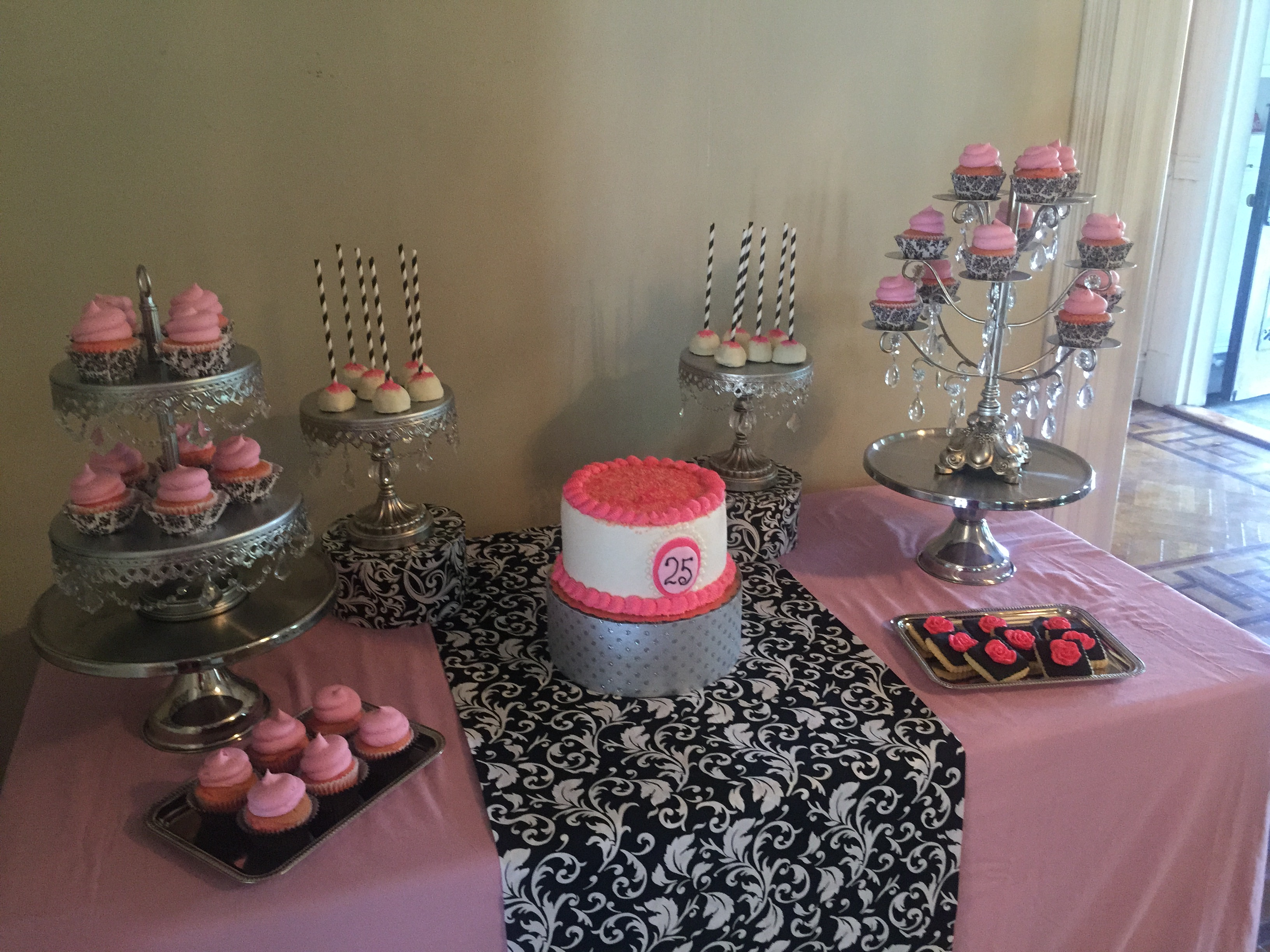 Pink White And Black Dessert Table