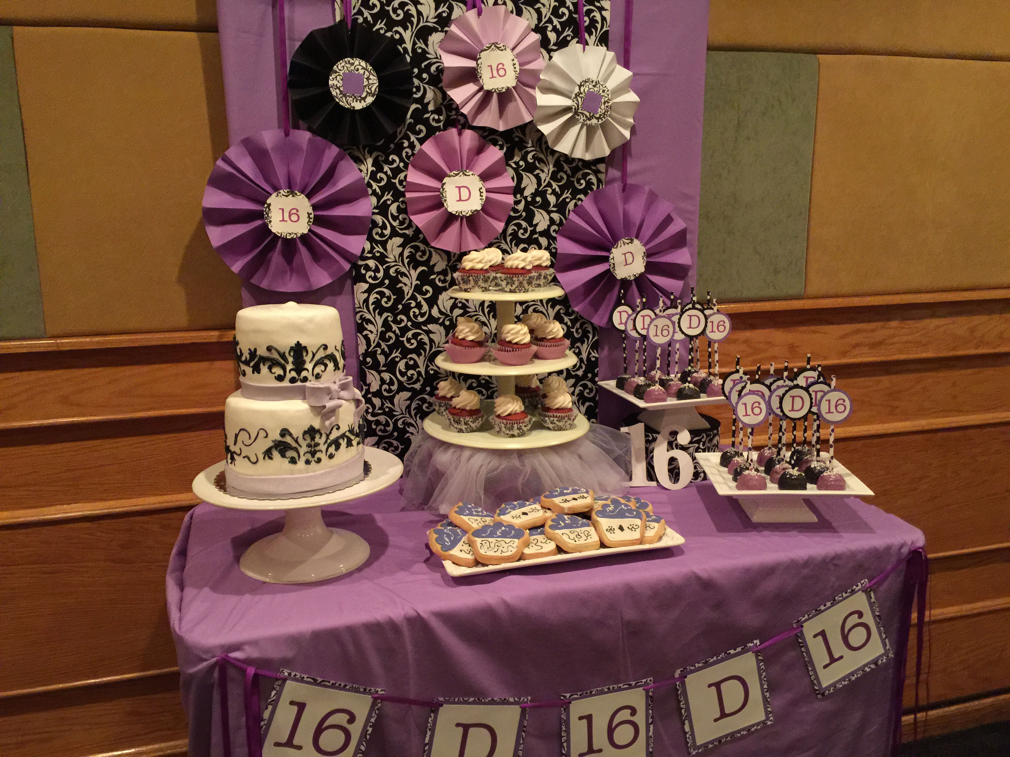Purple And White Dessert Table