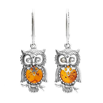 AMBER DROP OWL EARRINGS