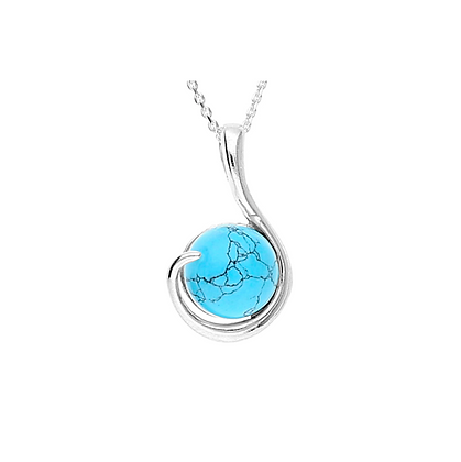 SILVER PENDANT ROUND TURQUOISE
