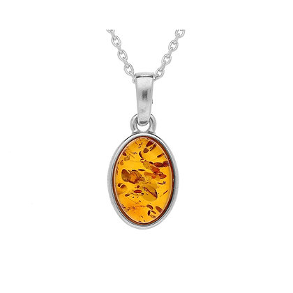 AMBER OVAL SILVER PENDANT