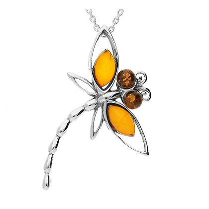 DRAGONFLY AMBER SILVER PENDANT