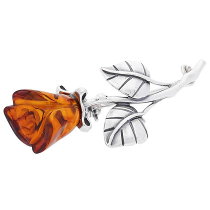 SMALL SINGLE ROSE AMBER BROOCH OXIDISED SILVER