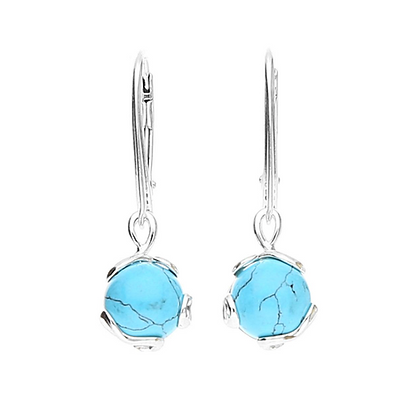 TURQUOISE DESIGNER SILVER DROP DANGLE EARRINGS